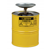 Plunger Dispensing Can, 1 gallon, perforated pan screen serves as flame arrester, Steel, Yellow.
