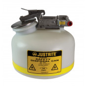 Safety Can for Liquid Disposal, S/S hardware, 2 gallon, flame arrester, polyethylene, White.