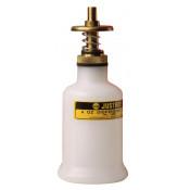 Dispensing Can, Non-metallic, with brass dispenser valves, 4 ounce, translucent polyethylene, White.
