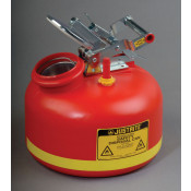 Safety Can for Liquid Disposal, S/S hardware, 2 gal, built-in Fill Gauge, flame arrester, poly, Red.