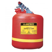 Type I Safety Can, Round Non-metallic, S/S hardware, 5 gallon, flame arrester, polyethylene, Red.