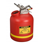Safety Can for Liquid Disposal, S/S hardware, 5 gal, built-in Fill Gauge, flame arrester, poly, Red.