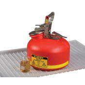 Safety Can for Liquid Disposal, S/S hardware, 2 gallon, flame arrester, polyethylene, Red.
