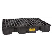 4 Drum Black Low Profile Containment Pallet w/Drain