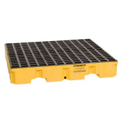 4 Drum Yellow Low Profile Containment Pallet w/Drain