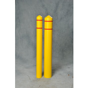 "4"" Bumper Post Sleeve w/Reflective Strip-Yellow w/3/4"" Red Stripes"