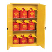 45 Gal Two Door Manual Two Shelves w/9ea U150FS Safety Cans