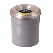 Cease-Fire  Ash and Cigarette Butt Receptacle Drum with Aluminum Head w/Grill Guard, 4.5 GAL, Gray.