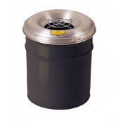 Cease-Fire  Ash and Cigarette Butt Receptacle Drum with Aluminum Head w/Grill Guard, 4.5 gal, Black.