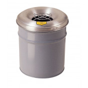 Cease-Fire  Ash and Cigarette Butt Receptacle Drum with Aluminum Head w/Grill Guard, 6 gallon, Gray.