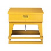 Rinse Tank, Floor-Standing, 83 litre, foot-operated self-close cover, drain plug, Steel, Yellow.