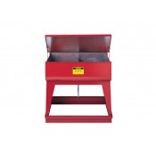 Rinse Tank, Twin Chamber Floor-Stand, two 9-gal chambers, foot-operate s/c cover, 2 plugs, Steel, Red.