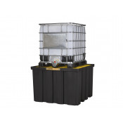 EcoPolyBlend™ IBC Indoor Pallet, Forklift Pockets, Recycled Polyethylene, Black Body 372 Gal Sump