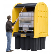 EcoPolyBlend™ IBC Outdoor Shed With Pallet, Forklift Pockets, Rolltop Doors, Recycled Polyethylene