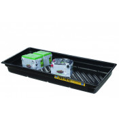 "20 Gallon EcoPolyBlend™ Spill Tray, 38""W X 26""D X 5-1/2""H, Indoor Or Outdoor Use, Rigid, Recycled Polyethylene, Black"