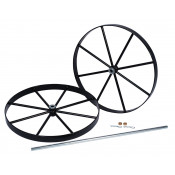 Steel Wheels and Axle Set for Double Cylinder Hand Trucks, 20 Inch