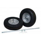 Pneumatic Wheels and Axle Set for Double Cylinder Hand Trucks, 16 Inch