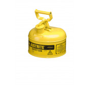 Type I Steel Safety Can for flammables, 1 gallon, S/S flame arrester, self-close lid, Yellow.
