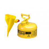 Type I Steel Safety Can for flammables, Funnel 11202Y, 1 gallon, S/S flame arrester, s/c lid, Yellow.