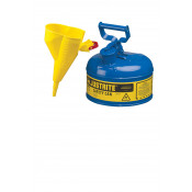 Type I Steel Safety Can for flammables, Funnel 11202Y, 1 gallon, S/S flame arrester, s/c lid, Blue.