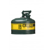 Type I Steel Safety Can for flammables, 1 gallon, S/S flame arrester, self-close lid, Green.