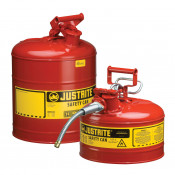 Type I Steel Safety Can for flammables, 5 gallon, S/S flame arrester, self-close lid, Red.