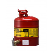 Type I Shelf Safety Can, 5 gallon, bottom 08902 faucet, S/S flame arrester, Steel, Red.