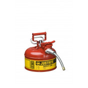 "Type II AccuFlow  Steel Safety Can for flammables, 1 GAL, S/S flame arrester, 5/8"" metal hose, Red."