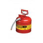 """Type II AccuFlow  Steel Safety Can for flammables, 2 GAL, S/S flame arrester, 5/8"""" metal hose, Red."""