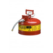 "Type II AccuFlow  Steel Safety Can for flammables, 2.5 GAL, flame arrester, 5/8"" metal hose, Red."