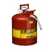 "Type II AccuFlow  Steel Safety Can for flammables, 5 GAL, S/S flame arrester, 5/8"" metal hose, Red."