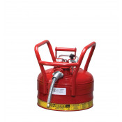 "Type II AccuFlow  D.O.T. Steel Safety Can, 2.5 gal, 5/8"" metal hose, flame arrester, roll bars, Red."