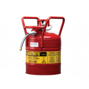 "Type II AccuFlow  D.O.T. Steel Safety Can, 5 GAL, 5/8"" metal hose, flame arrester, roll bars, Red."