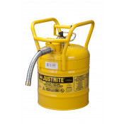 "Type II AccuFlow  D.O.T. Steel Safety Can, 5 GAL, 1"" metal hose, flame arrester, roll bars, Yel."