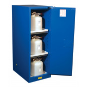 Sure-Grip  EX Deep Slimline Hazardous Material Safety Cabinet, Cap. 54 GAL 3 shelves 1 s/c door Royal Blue.