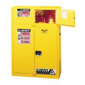 Sure-Grip  EX Piggyback Flammable Safety Cabinet, Cap. 12 gallons, 2 manual-close doors, Yellow.