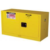 Sure-Grip  EX Piggyback Flammable Safety Cabinet, Cap. 17 gallons, 1 shelf, 2 m/c doors, Yellow.
