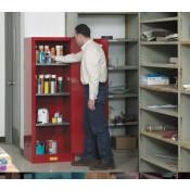 Sure-Grip  EX Slimline Flammable Safety Cabinet, Cap. 22 gallons, 3 shelves, 1 m/c door, Red.