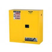 "Sure-Grip  EX Flammable Safety Cabinet, Dims. 44""H, Cap. 30 GAL, 1 shelf, 2 m/c doors, Yellow."