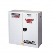 Flammable Waste Safety Cabinet, Steel, Cap. 30 gallons, 1 shelf, 2 manual-close doors, White.