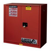 Sure-Grip  EX Combustibles Safety Cabinet for paint/ink, Cap. 40 GAL, 3 shelves, 1 bifold s/c door, Red.