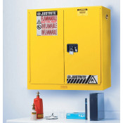 Sure-Grip  EX Wall Mount Flammable Safety Cabinet, Cap. 20 gallons, 5 shelves, 2 m/c doors, Yellow.