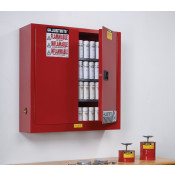 Sure-Grip  EX Wall Mount Aerosol Can Safety Cabinet, Cap. 20 gallons, 3 shelves, 2 m/c doors, Red.