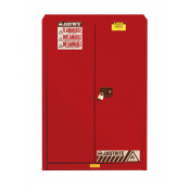 Sure-Grip  EX Combustibles Safety Cabinet for paint and ink, Cap. 60 GAL, 5 shelves, 2 s/c door, Red.