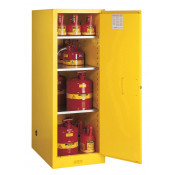 Sure-Grip  EX Deep Slimline Flammable Safety Cabinet, Cap. 54 gallons, 3 shelves, 1 m/c door, Yellow.