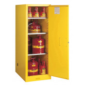 Sure-Grip  EX Deep Slimline Flammable Safety Cabinet, Cap. 54 gallons, 3 shelves, 1 s/c door, Yellow.