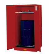 Sure-Grip  EX Vertical Drum Safety Cabinet and Drum Rollers, Cap. 55 GAL, 1 shelf, 2 m/c doors, Red.