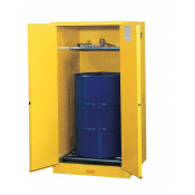 Sure-Grip  EX Vertical Drum Safety Cabinet and Drum Rollers, Cap. 55 GAL, 1 shelf, 2 s/c doors, Yel.