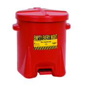 Poly Oily Waste Can, 6 Gallon, Hands-Free Operation, Self Close, Red