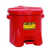 Poly Oily Waste Can, 10 Gallon, Hands-Free Operation, Self Close, Red